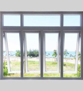 cửa sổ mở hất 4 cánh nhựa lõi thép